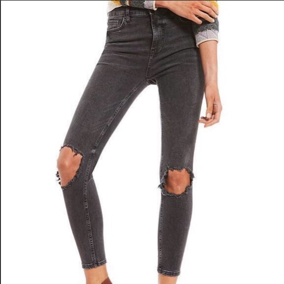 Free People Denim - Free People high rise busted knee distress jeans